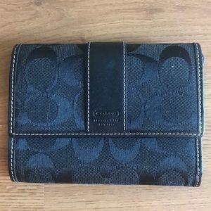 Coach Black Signature C Small Fold Wallet